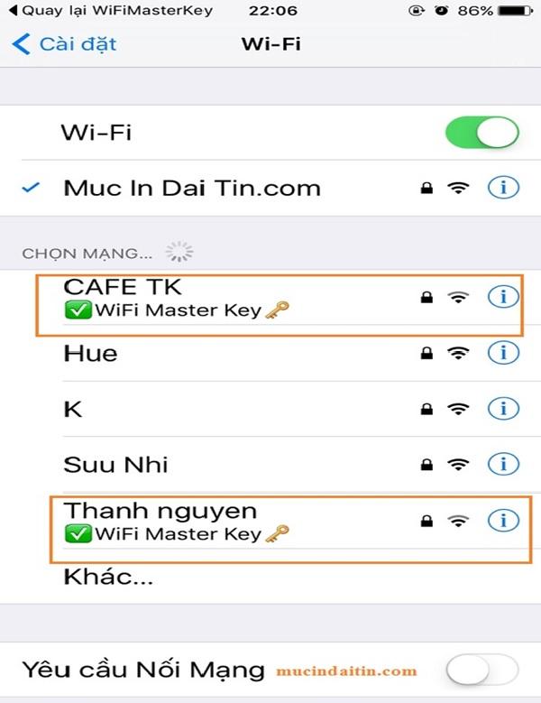 Bẻ khóa wifi trên điện thoại trong phần cài đặt khi đã tải Master Key